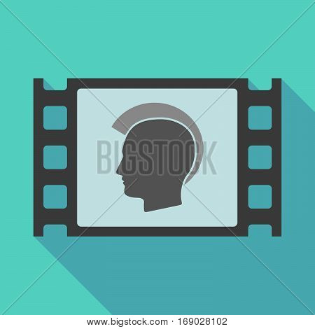 Long Shadow Film Frame With  A Male Punk Head Silhouette