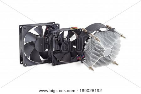 Active CPU heatsink with fan and two fans different sizes for a computer case on a light background