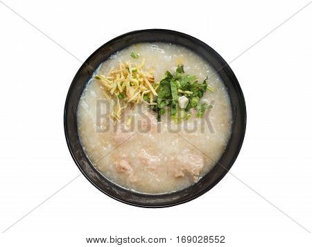 Congee Rice porridge Rice gruel Rice soup isolted on white background.