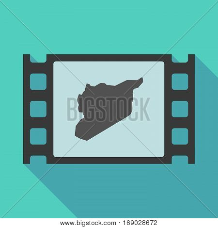 Long Shadow Film Frame With  The Map Of Syria