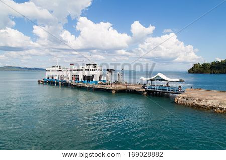 Sea passenger port ferryboat at koh chang Thailand.
