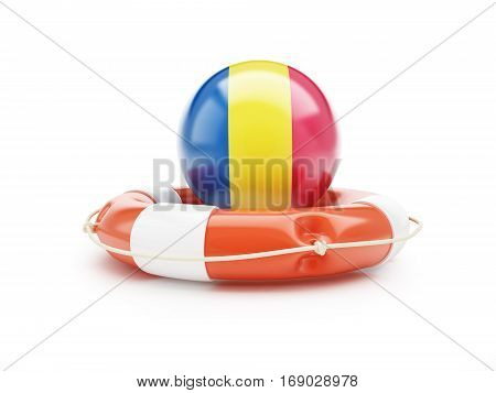Lifebuoy Help Flag of Romania on a white background 3D illustration