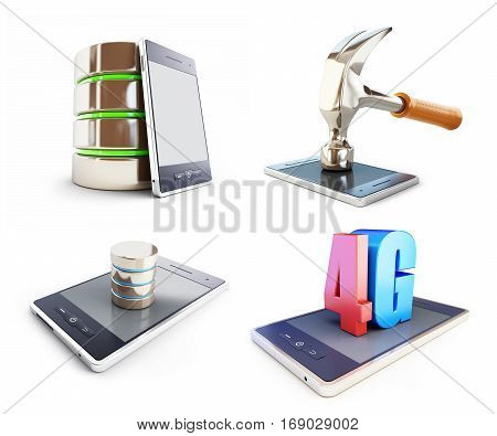 set smartphone different activities. on a white background 3D illustration