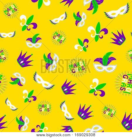 Vector illustration of cartoon seamless pattern with carnival party colored mask, fleur de lis, joker hat, text sign isolated on yellow background