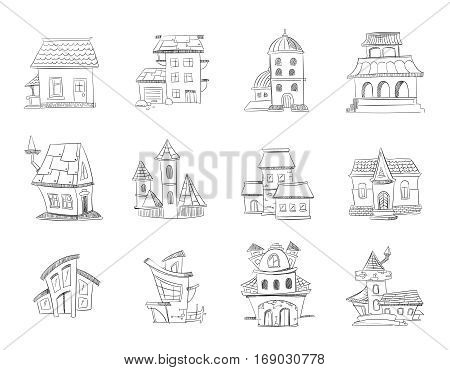 Cute hand drawn houses with windows, doodle housing, sketchy homes vector set. Linear sketch of suburb home, ilustration of home in pencil