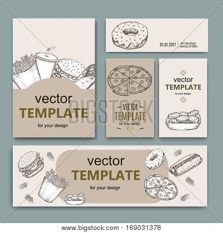 Fast food menu design template hand drawn vector. Illustration