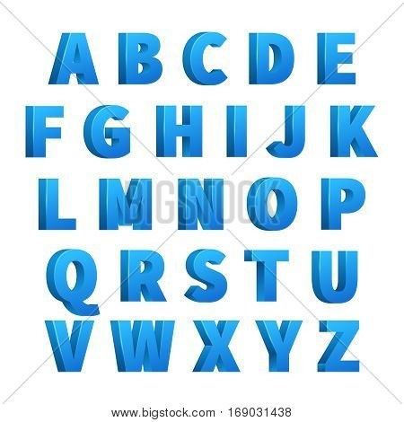 Ice blue 3d letters, characters, alphabet, lettering. Design alphabet vector, illustration of ice cold alphabet