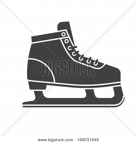 Figure ice skating shoes outline icon isolated on white background. Ice-skates silhouette vector illustration.