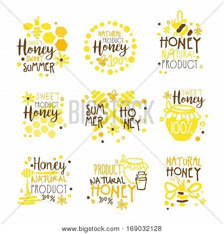 Natural Honey Products 100 Percent Organic Set Of Colorful Promo Sign Design Templates With Bees And Honeycombs. Bright Color Promotional Vector Labels With Text Series.