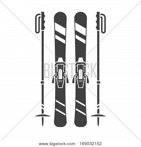 Mountain skis and ski poles outline illustration. Freeride skiing silhouette vector icons.