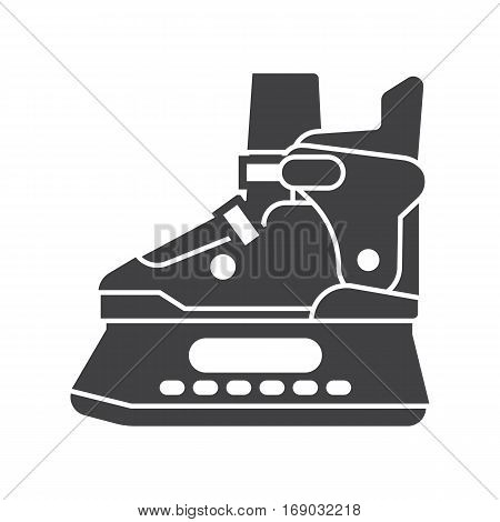 Ice skating shoes outline icon isolated on white background. Ice-skates silhouette vector illustration.