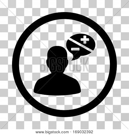 Person Arguments icon. Vector illustration style is flat iconic symbol black color transparent background. Designed for web and software interfaces.