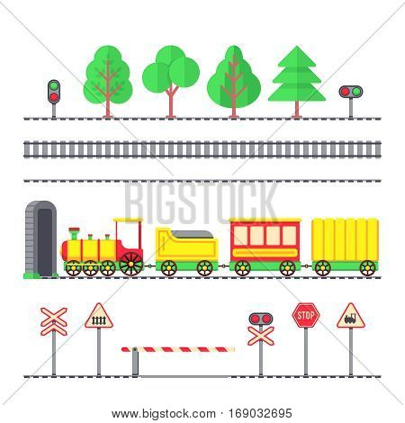 Cartoon toy passenger train, kids railroad, railway signs and semaphores. Toy train locomotive with wagons, illustration of element tree and train for railroad