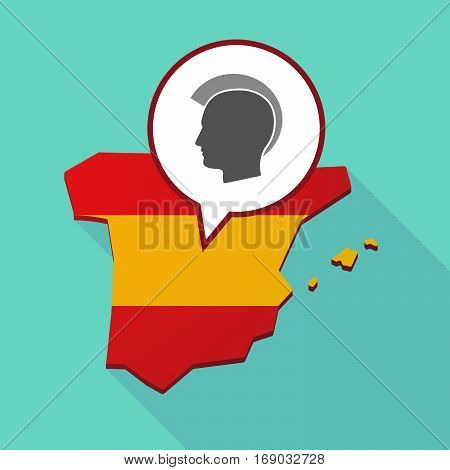 Map Of Spain With  A Male Punk Head Silhouette