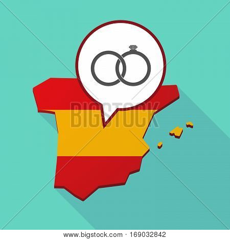 Map Of Spain With  Two Bonded Wedding Rings