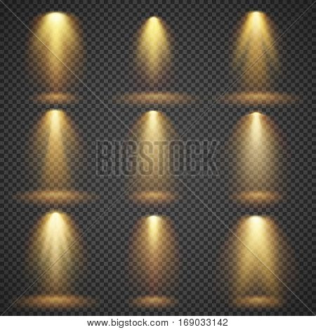Sunlight glowing, yellow lights glow vector effects. Set of illuminated shine beam, illustration of bright glow beam light