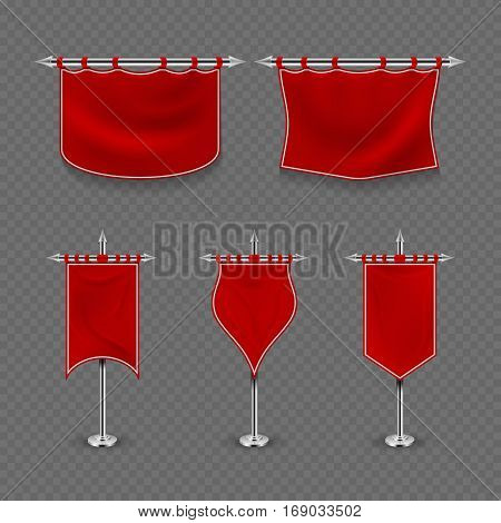 Medieval royalty, king fabric red flag banner vector set. Medieval vintage royal flag collection illustration