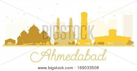 Ahmedabad City skyline golden silhouette. Vector illustration. Simple flat concept for tourism presentation, banner, placard or web site. Cityscape with landmarks
