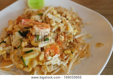 Closeup pad thai noodle Stir fry noodles in thai food style healthy concept