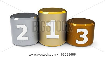 Metal cylinder podium with three rank places three-dimensional rendering 3D illustration
