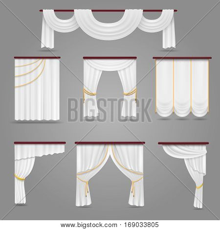 White curtains drapery for wedding room and windows vector set. Textile silk curtains for interior, illustration of luxury curtains decoration