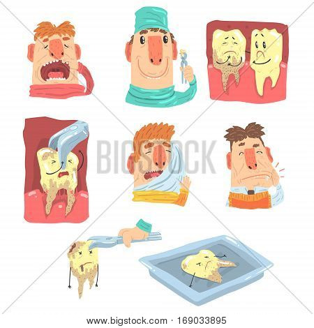 Funny Cartoon Dentist And Patient Illustration Series With Dental Care Procedures And Humanized Teeth Characters. Doctor Extracting Bad Tooth From The Mouth Of Patient In Pain.