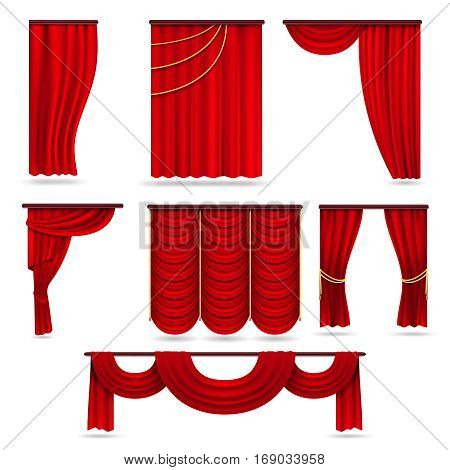 Red velvet stage curtains, scarlet theatre drapery isolated on white vector set. Silk classical curtains for opera decor, presentation red theater curtain illustration