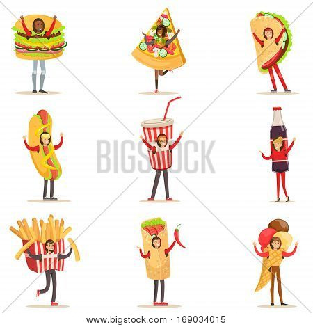 People Wearing Fast Food Snacks Costumes Disguised As Cafe Menu Items Set Of Cartoon Characters. Junk Food And Take Away Lunch Giant Disguised For Adult People Vector Illustrations.