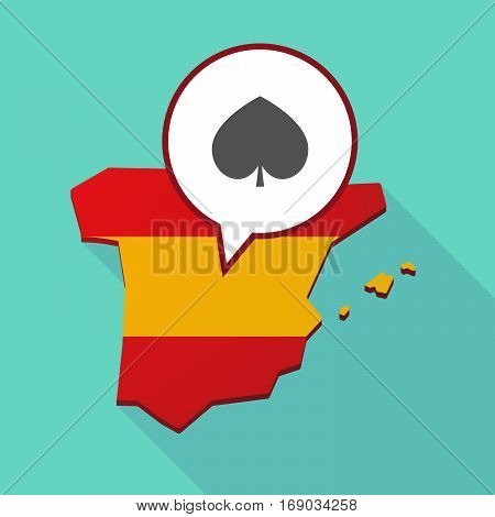 Map Of Spain With  The  Spade  Poker Playing Card Sign