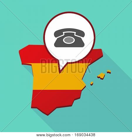 Map Of Spain With  A Retro Telephone Sign