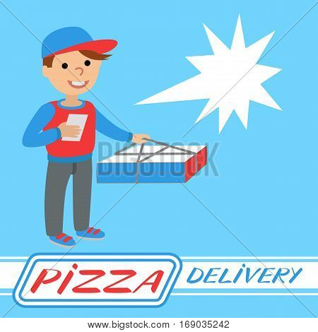 Pizza delivery man in uniform standing with box in his hands. Templates for printing with inscription on blue background.