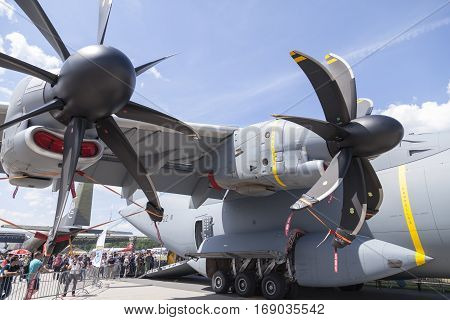 BERLIN / GERMANY - JUNE 3 2016: german Airbus A 400 M propeller engines. The Airbus A400M is a multi-national four-engine turboprop military transport aircraft.