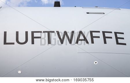 BERLIN / GERMANY - JUNE 3 2016: Luftwaffe ( german Airforce ) logo on a Airbus A 400 M
