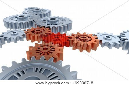 3D illustration of Above Blurred Silver Gears Orange and Red Gears with a white background
