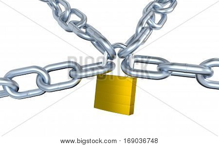 3D illustration of Four Metallic Chains Locked with a Padlock with a white background