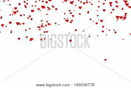 3D illustration of Lots of Tiny Red Hearts In Up with a Defocus Effect with a white background