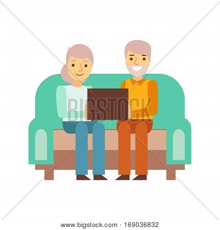 Old Couple Sitting On The Sofa With Lap Top, Pe. Modern Technology Devices And Internet Life Impact Simple Vector Illustration.rson Being Online All The Time Obsessed With Gadget