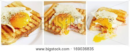 Photo collage of bitten ham and cheese toast with fried egg on top.