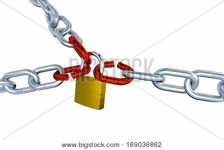 3D illustration of Three Metallic Chains with Three Stressed Link Locked with a Padlock with a white background