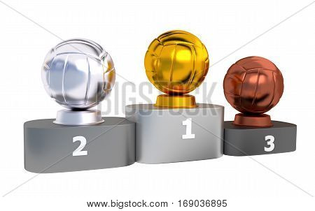 3D illustration of Volleyball Podium with Gold Silver and Bronze Trophy with white background