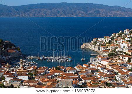 Yachting Marina of the Hydra island, Aegean sea, Greece.