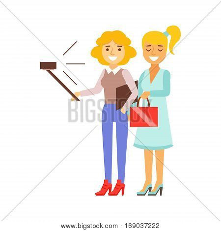 Girlfriends Standing Taking Selfie With Selfie Stick And Smartphone, Person Being Online All The Time Obsessed With Gadget. Modern Technology Devices And Internet Life Impact Simple Vector Illustration.