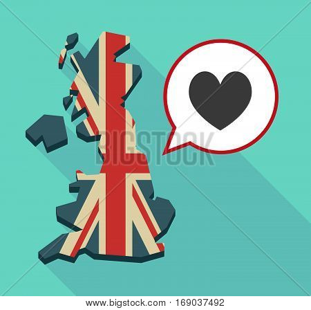 Map Of Uk With  The Heart Poker Playing Card Sign