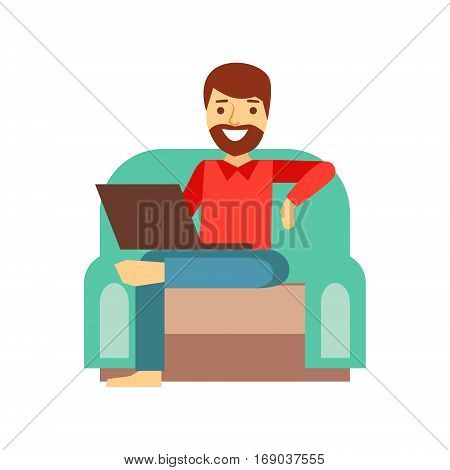 MAn At Home In Armchair With Lap Top, Person Being Online All The Time Obsessed With Gadget. Modern Technology Devices And Internet Life Impact Simple Vector Illustration.