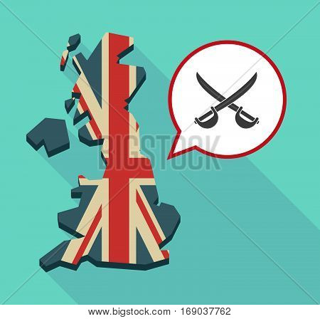 Map Of Uk With  Two Swords Crossed