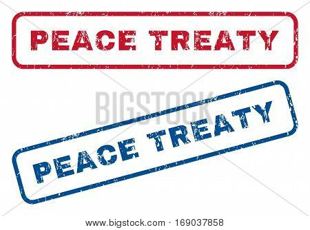 Peace Treaty text rubber seal stamp watermarks. Vector style is blue and red ink tag inside rounded rectangular banner. Grunge design and dust texture. Blue and red signs.
