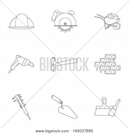 Build and repair set icons in outline design. Big collection of build and repair vector symbol stock illustration