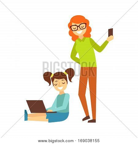 Mother With Smartphone And Girl With Ponytails And Lap Top, Person Being Online All The Time Obsessed With Gadget. Modern Technology Devices And Internet Life Impact Simple Vector Illustration.