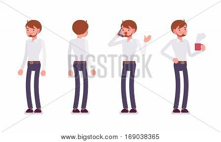 Set of young smiling male busy clerk in formal wear, standing poses, talking on phone in trouble, holding hot coffee mug, full length, front and rear view isolated against white background