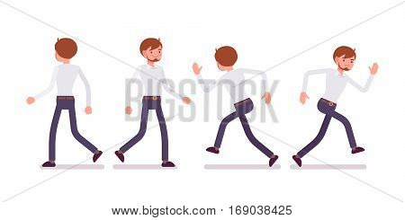 Set of young happy and unhappy male busy clerk in formal wear, walking and runnig poses, having workload, enjoying his job, full length, front and rear view isolated against white background